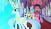The ponies watch the door open
