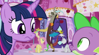 Twilight and Spike looking confused about their friends S5E22