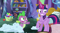 Twilight pulls her notes away from Spike S8E11