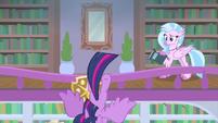 Twilight stumbles over library balcony MLPS4