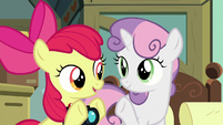 Apple Bloom and Sweetie Belle hold up three hooves S9E12