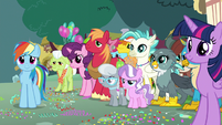 Crowd of the Crusaders' Ponyville friends S9E12