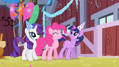 Rarity, Pinkie and Twilight dancing S1E25.png