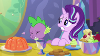 Spike gets hit by Ember's gem crumbs S7E15