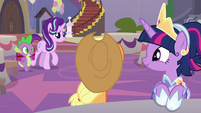 Starlight Glimmer and Spike arrive S9E26