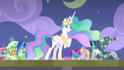 Celestia looking embarrassed at Young Six S8E7.png