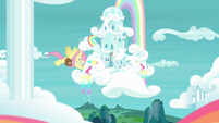 Fluttershy flying to Rainbow Dash's house S9E21