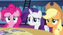Pinkie, Rarity, and AJ listen to Twilight's story EG2
