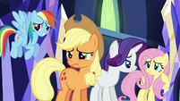 RD, AJ, Rarity, and Fluttershy about to laugh S5E22