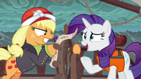 Rarity tries to talk to Applejack S6E22