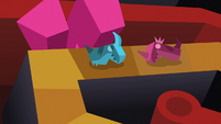 Red and blue Dragon Pit pieces on the board S7E24