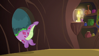Spike climbing out of Zecora's window S8E11