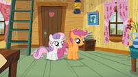 Sweetie Belle & Scootaloo hear Apple Bloom S2E12