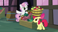 Sweetie Belle gives Apple Bloom the signal S8E12