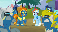 Wonderbolts laughing with Rainbow Dash S6E7