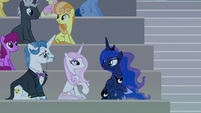 Princess Luna sits with Fancy and Fleur S8E7