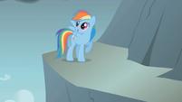 Rainbow Dash jumps across the gap first S1E07
