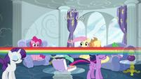 Rainbow Dash zips past her friends S6E7