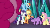 Twilight's friends all look at Pinkie Pie S9E2