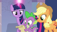 Twilight, Spike, and AJ looking at a map S9E4