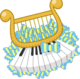Golden lyre and piano keys on top of pile of candies or bows