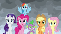 Main ponies and Spike listen to Twilight S9E25