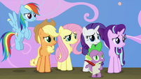 Main ponies and Spike looking at Twilight S8E7