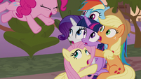 Pinkie Pie diving toward her friends S9E17
