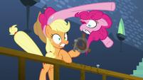 Pinkie pops out of Applejack's hat S5E11