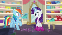 Rarity showing other shoes to Rainbow Dash S8E17
