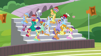 Spectator ponies wait for halftime show S9E15