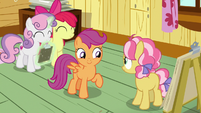 Apple Bloom and Sweetie Belle agree with Scootaloo S7E21