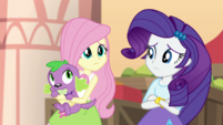 Fluttershy and Rarity look at each other EGS2