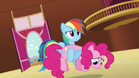 Rainbow Dash carrying Pinkie S3E03
