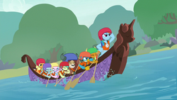 Rainbow Dash leading while the Young Six row S8E9.png