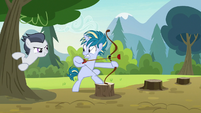 Rumble appears from behind a tree S7E21