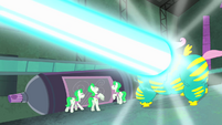 Saddle Rager blasted with Mane-iac's weapon S4E06