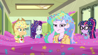 Equestria Girls and Celestia in a sea of confetti EGDS12c