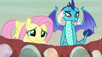 Fluttershy looks worried at the eggs S9E9