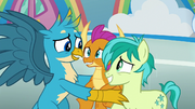 Gallus looks embarrassed at Smolder and Sandbar S8E2.png