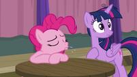Pinkie Pie scoffing at Twilight Sparkle S9E16
