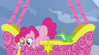 Pinkie Pie sees Yakyakistan from the balloon S7E11