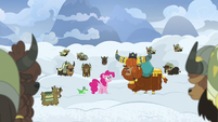 Rutherford tells yaks to dig through the snow S7E11