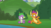 Smolder sitting down with Spike S8E24