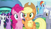 Applejack and Pinkie smiling S5E24