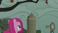 Filly Pinkamena looking at the grey sky S5E25