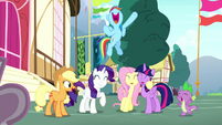 Main five and Spike cheering excitedly S8E18