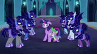 Nightmare Moon's guards surround Twilight and Spike S5E26