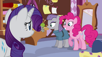 Pinkie Pie smiling while standing beside Maud S4E18