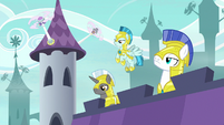 Royal guards on lookout near blowing fans S9E4